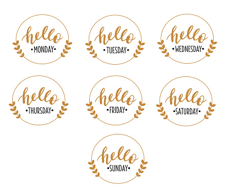 Hello 7 weekdays set hand drawn lettering logo icon. Vector phrases elements for planner, calender, organizer, cards, banners, posters, mug, scrapbooking, pillow case, phone cases and clothes design.