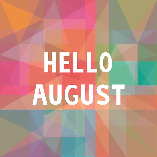 Hello August card1 vector art illustration