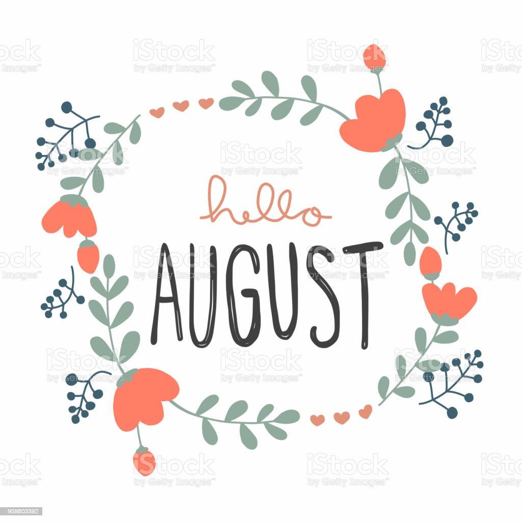 こんにちは 8 月かわいい花の花輪ベクトル イラスト落書きスタイル