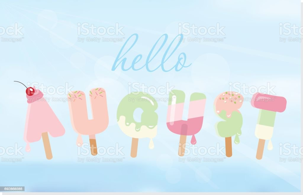 Hello august letters on blurred sky background. vector art illustration