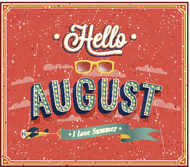 Hello august typographic design. vector art illustration
