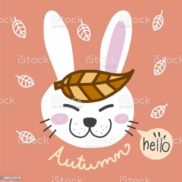 Hello autumn and white rabbit cartoon illustration vector id1093142076?b=1&k=6&m=1093142076&s=612x612&h=kcrwzp7ccbqyhophro3ytfv8ogyiwrlqnq 0ohshrqq=