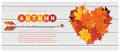 Hello autumn background with heart shape leaves and arrow on wooden board , vector , illustration