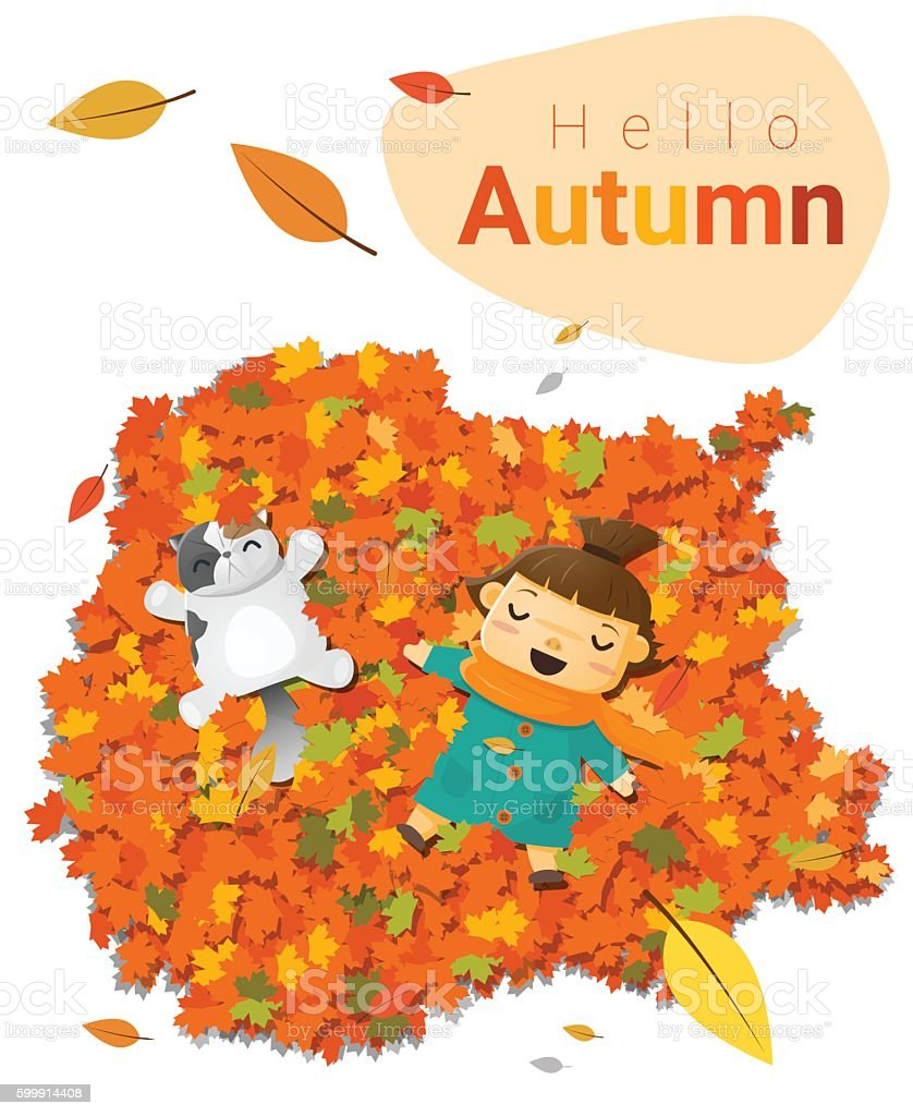 hello autumn background with little girl 4 こんにちはのベクター