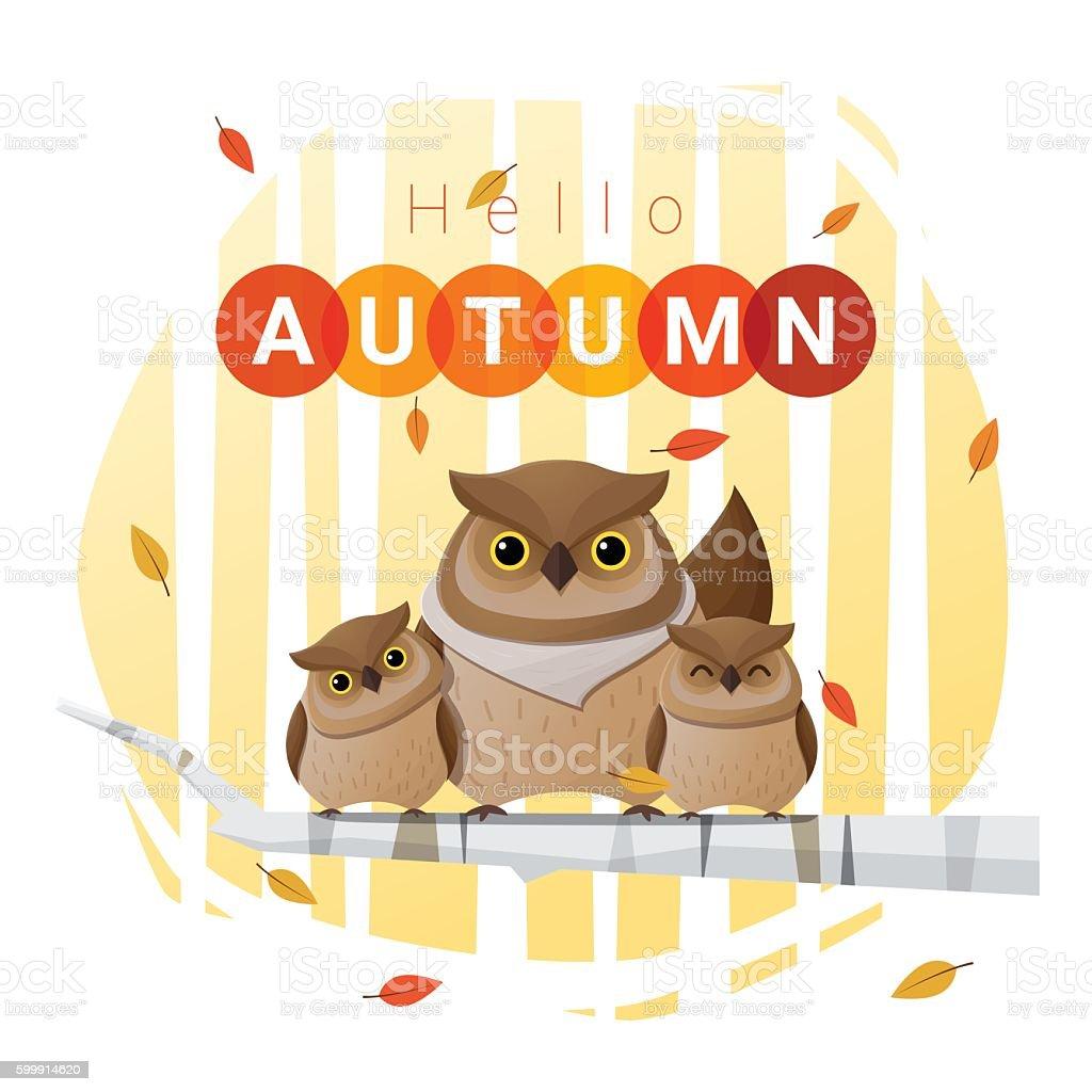 Hello autumn background with owl family vector art illustration