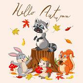 Vector illustration of Hello autumn background with wild animals