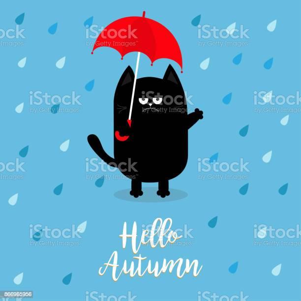 Hello autumn black cat holding red umbrella rain drops angry sad vector id866965956?b=1&k=6&m=866965956&s=612x612&h=v95esukf0mmdyams83cgu2bki7ujfb4ywxo3ildzkus=