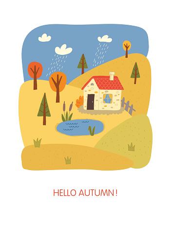 Hello autumn card design. Winter landscape.