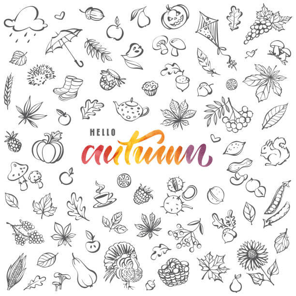 Hello autumn card vector art illustration