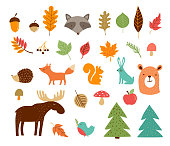 Hello Autumn, fall season collection of forest animals, elements and illustrations, stickers, icons