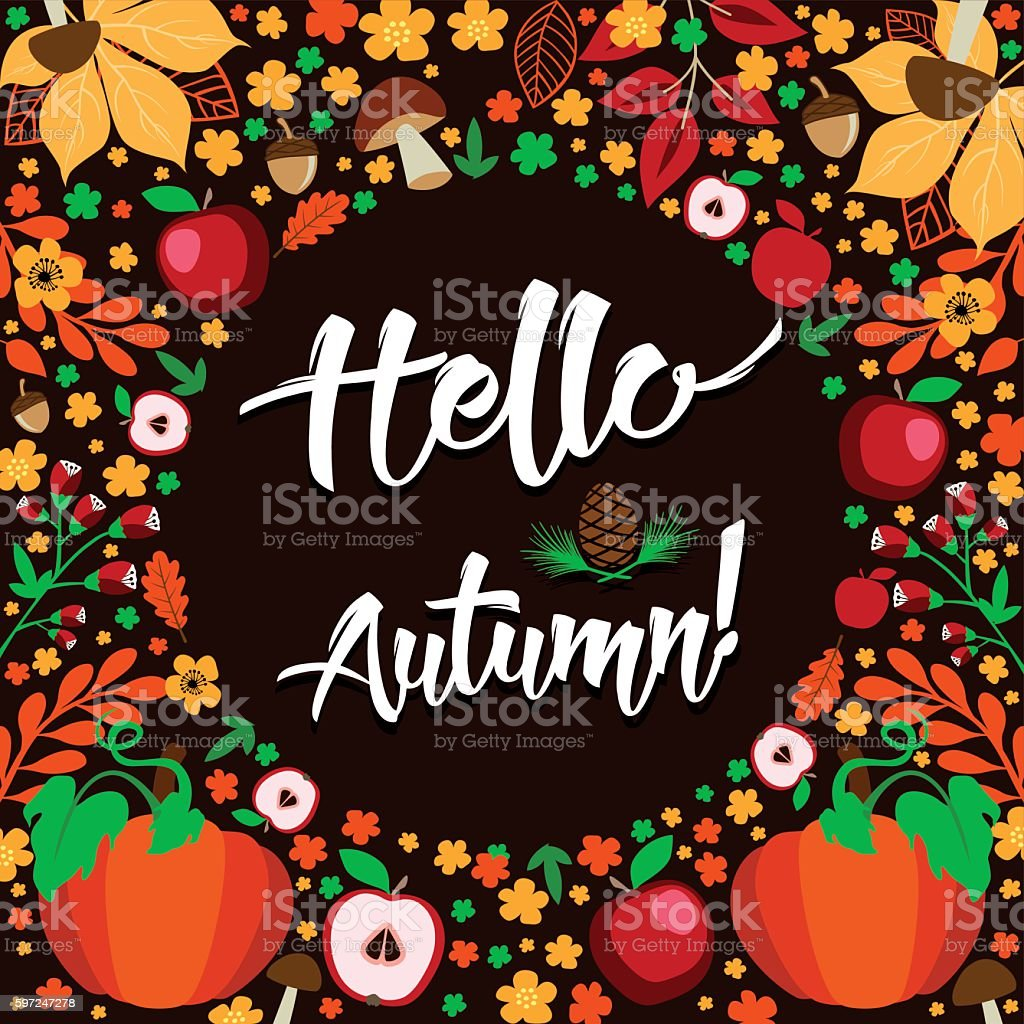 Hello Autumn! - Floral background with leaves, pumpkins and apples vector art illustration