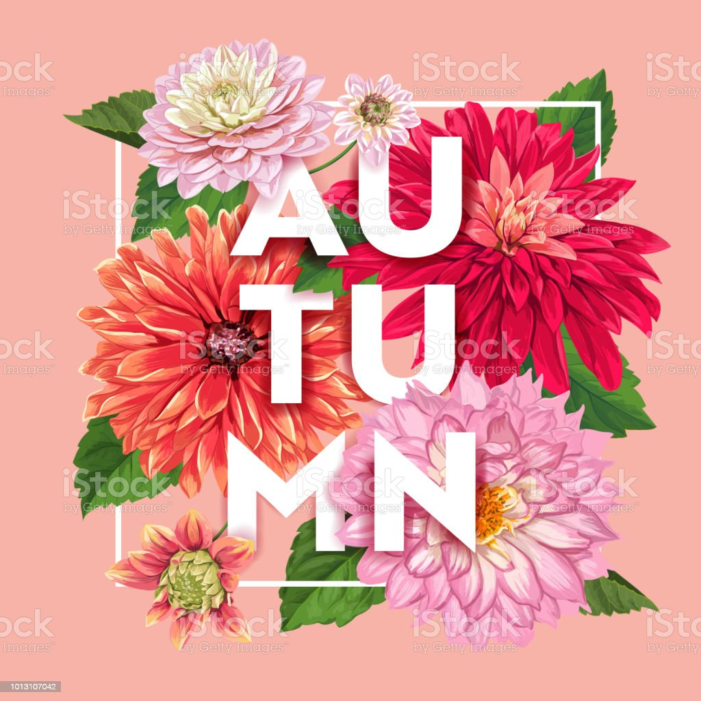 Hello Autumn Floral Design Seasonal Fall Floral Background For Web