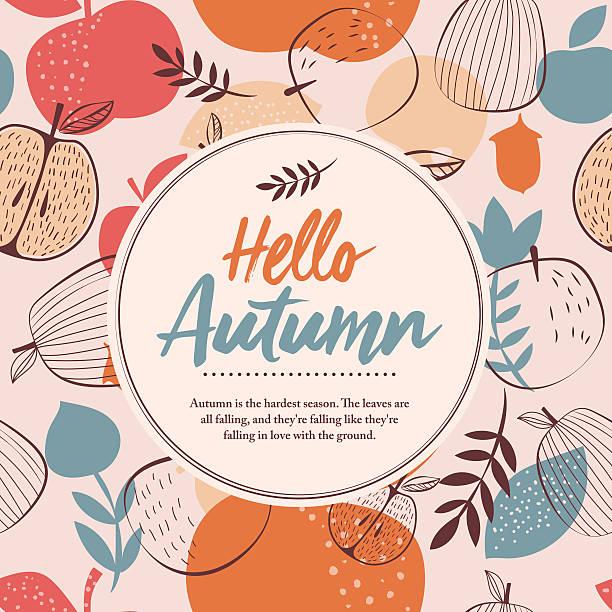 ilustraciones, imágenes clip art, dibujos animados e iconos de stock de hello autumn frame - marcos de garabatos y dibujados a mano