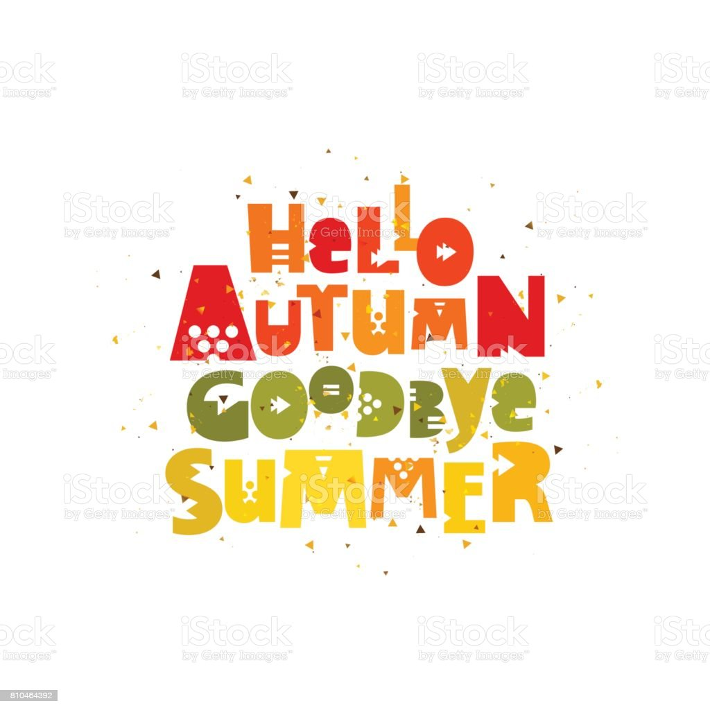 Hello Autumn Goodbye Summer Vector Stock Vector Art & More ...