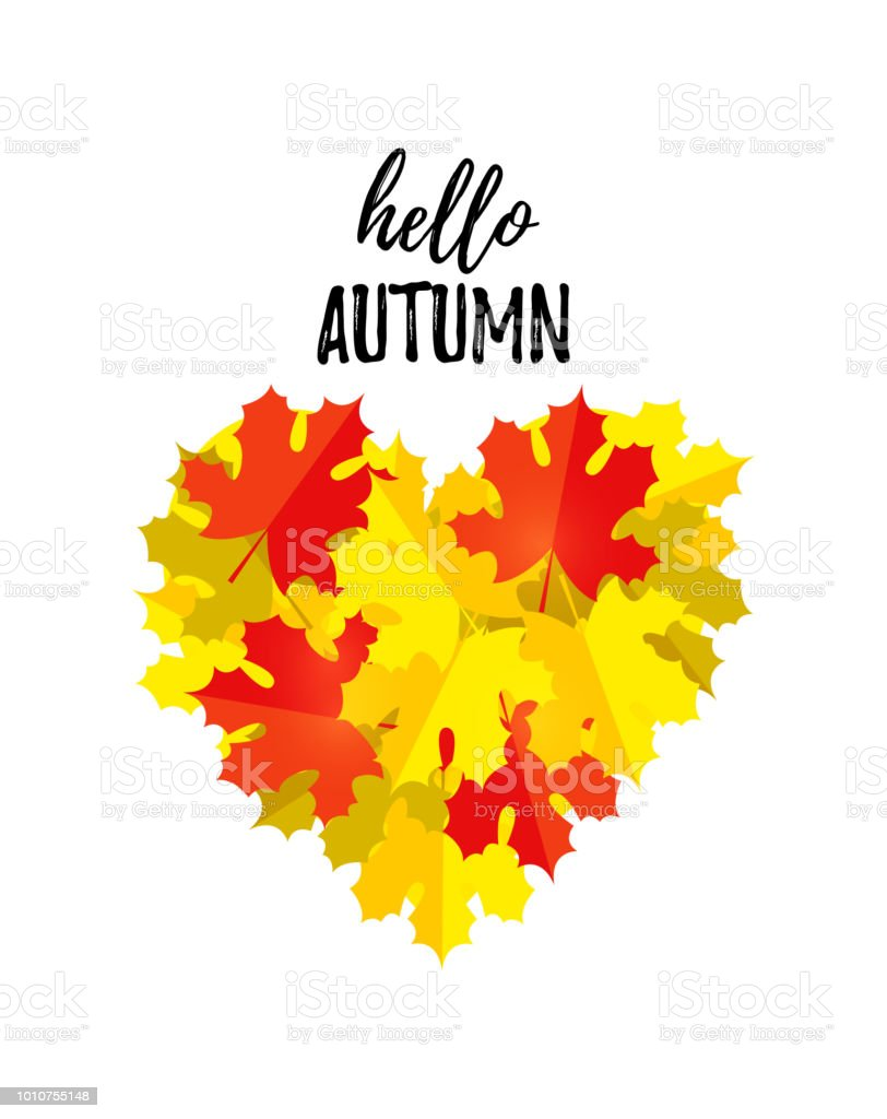 hello autumn greeting card with a heart of autumn leaves isolated on