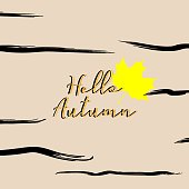 Hello autumn greeting design colorful square background.