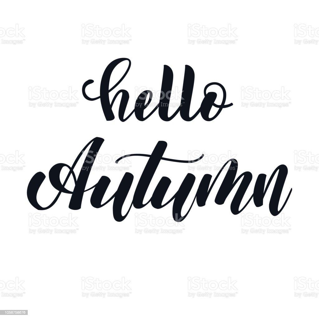 Vetores De Olá Outono Mão Lettering Frase Preto E Branco E