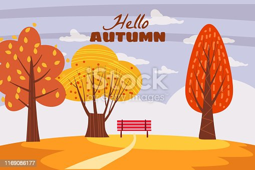 Autumn trees yellow red orange color of leaves forest autumn