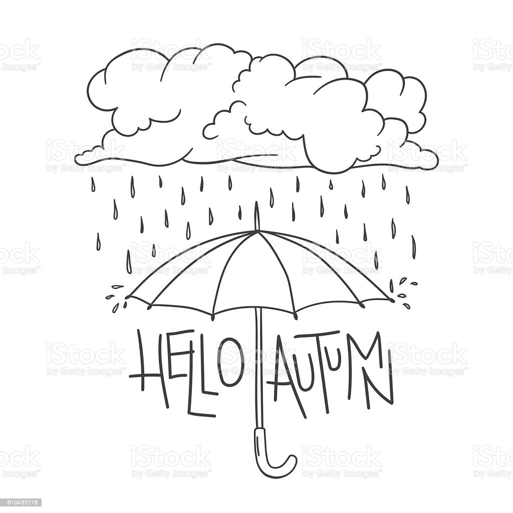 Hello Autumn lettering, umbrella, cloud, rain, raindrops vector art illustration