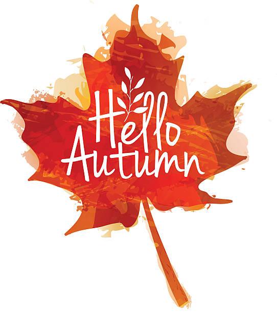 hello autumn logo with maple leaves and watercolor texture - hello stock-grafiken, -clipart, -cartoons und -symbole