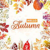 Hello autumn nature background with colorful leaves imprints. Vector illustration