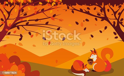 hello autumn poster with chipmunks and nut vector illustration design