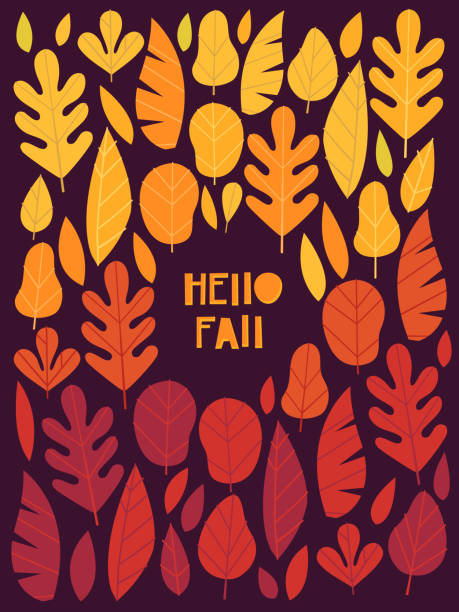 Hello Autumn Poster with Colorful Leaves Greeting Card autumn leaf color stock illustrations