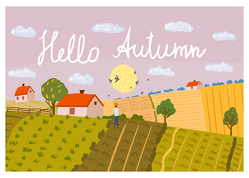 Hello Autumn Rural landscape fields farm on the hill, horizon. Fall seasone, countryside panorama view. Vector illustration hand drawn isolated