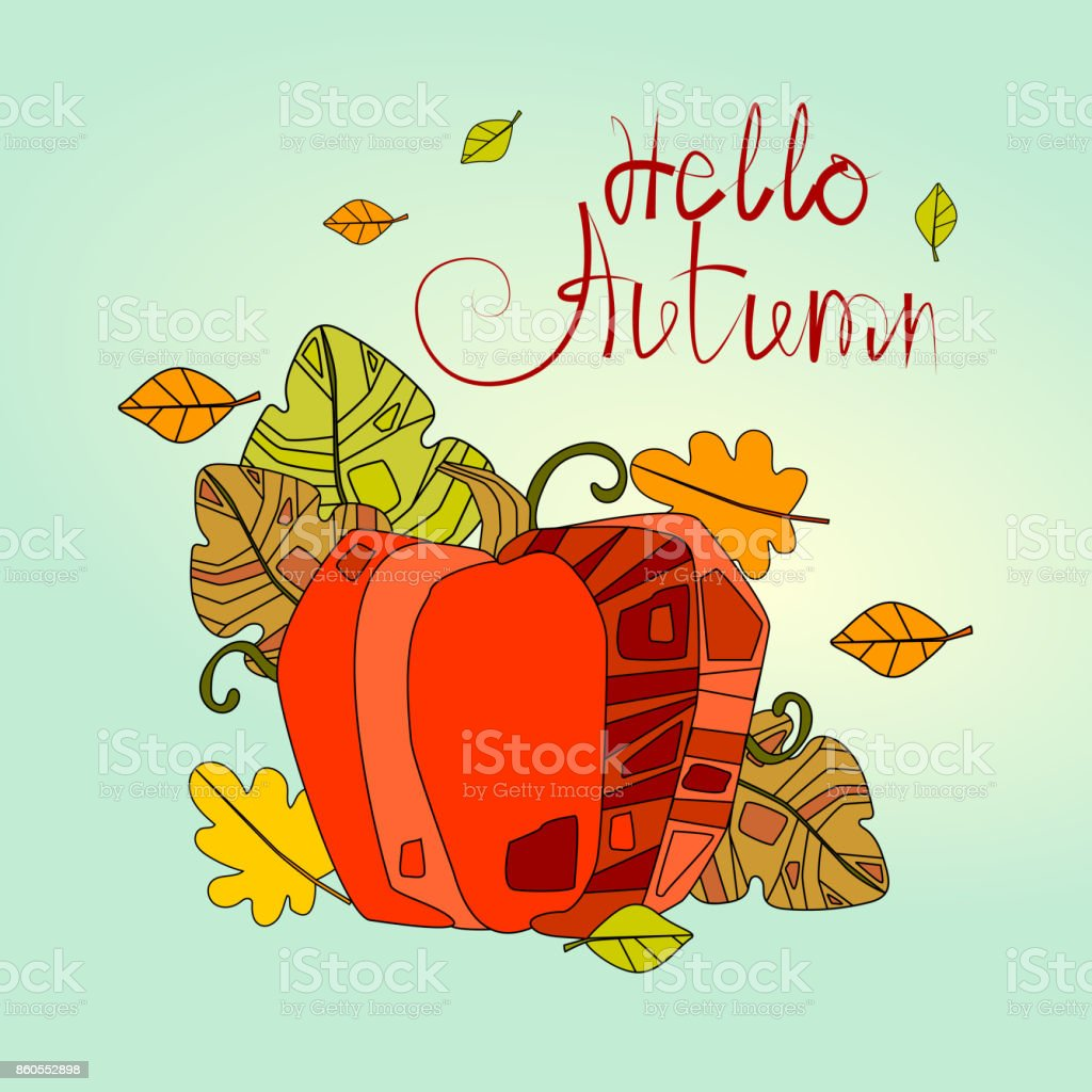 Hello Autumn Season Banner With Hand Draw Lettering Fall Greeting