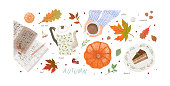 Hello, Autumn. Set of cute vector objects: woman's hands with a cup of tea or coffee, vintage teapot, tiramisu dessert plate, pumpkin and leaves. Illustrations for poster, background or card