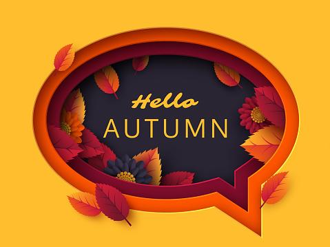 Hello Autumn speech bubble.