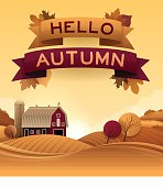 Hello Autumn background with copy space. EPS 10 file. Transparency effects used on highlight elements.