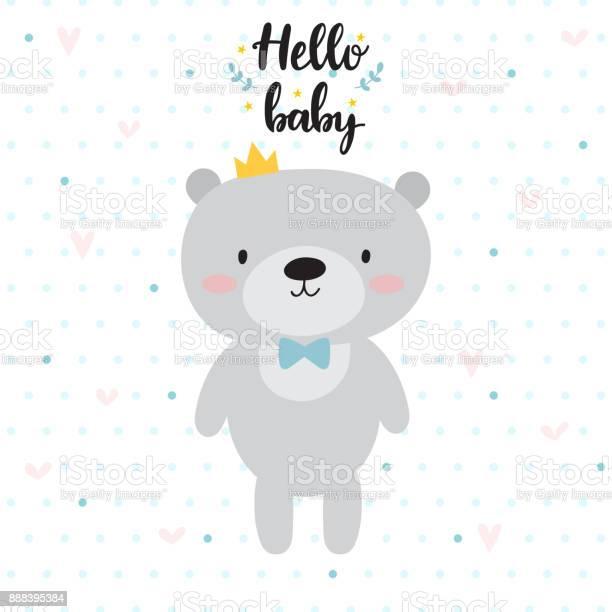 Hello baby cute card with cartoon bear and crown baby shower card vector id888395384?b=1&k=6&m=888395384&s=612x612&h=rto1ey9eb8ybizxib4hubdit6lzllgc8xkeknfcybbc=
