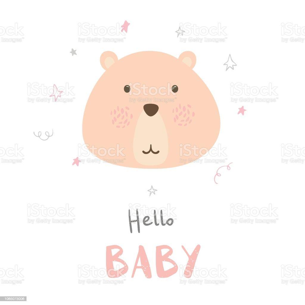 Vetores De Oi Bebe Bonito Cartao Com Desenhos Animados Urso E