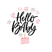 Hello baby hand drawn vector calligraphy. Baby shower, arrival vector postcard with lettering. Welcome newborn party invitation card. Birthday cake doodle drawing. One year anniversary celebration
