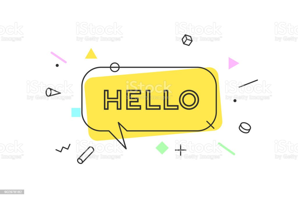 Hello. Banner, speech bubble vector art illustration