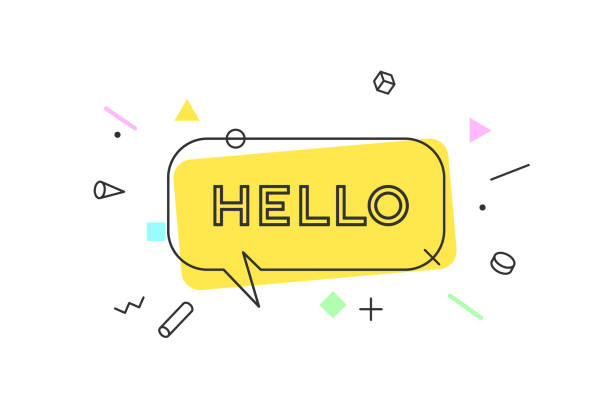 Hello. Banner, speech bubble Hello. Banner, speech bubble, poster and sticker concept, geometric style with text Hello. Icon message Hello cloud talk for banner, poster, web. White background. Vector Illustration greeting stock illustrations