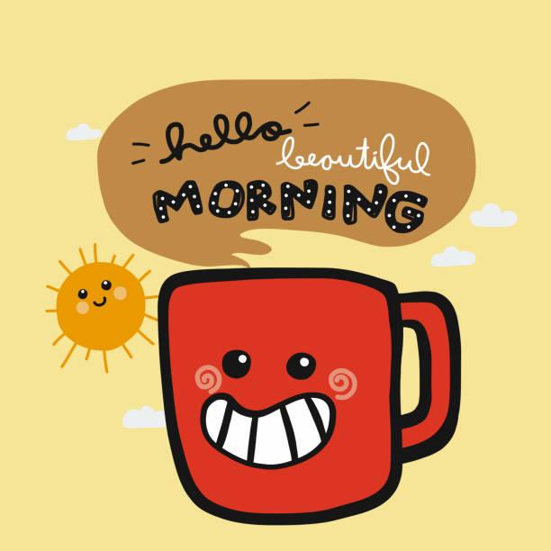 stockillustraties, clipart, cartoons en iconen met hallo mooie ochtend glimlach koffiekopje cartoon doodle vectorillustratie - fresh start yellow