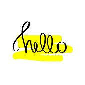 Hello black and yellow bright colored letters. Motivational calligraphy poster. Modern hand drawn lettering. Hand-painted inscription on white background. Vector illustration for print, text design.