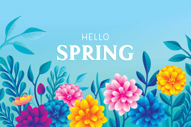 Hello blooming spring flowers Editable vector illustration on layers.  This is an AI EPS 10 file format, with transparency effects, gradients and one clipping mask. springtime stock illustrations