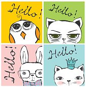 Vintage poster with stylish cat, bird and rabbit. Vector trendy hipster style for greeting card design, t-shirt print, inspiration poster.