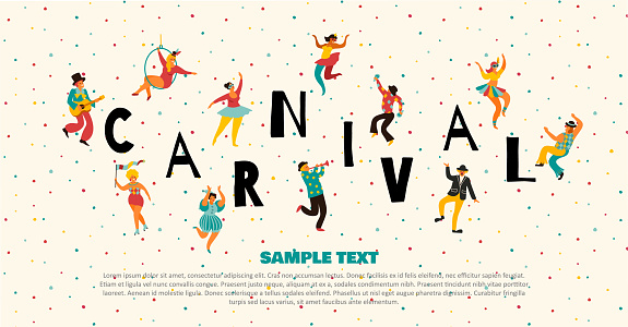Hello Carnival Vector illustration of funny dancing men and women in bright costumes