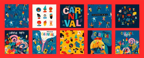 ilustrações, clipart, desenhos animados e ícones de olá carnaval. conjunto vetor de ilustrações para conceito de carnaval e outros usos. - carnaval