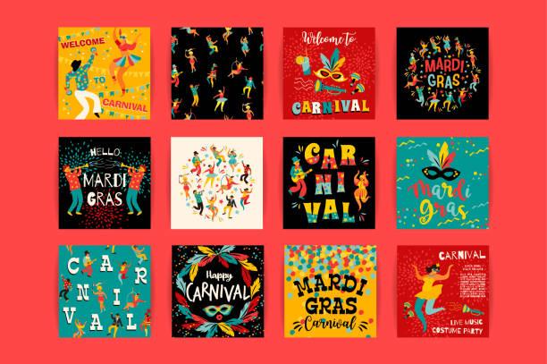 ilustraciones, imágenes clip art, dibujos animados e iconos de stock de hola el carnaval. plantillas vectoriales para concepto de mardi gras y otros usuarios - carnaval