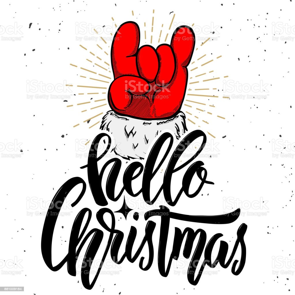 Hello christmas. Santa Claus hand with rock and roll sign. Design element for poster, card, banner. Vector illustration vector art illustration