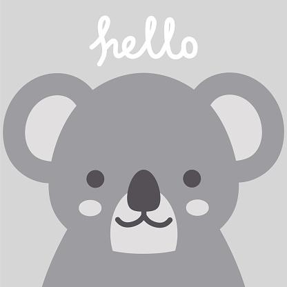 Hello Cute Koala Character Vector Design