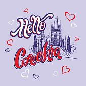 Hello , Czechia . Lettering. Travel. A trip to the Czech Republic.  Sketch.  The design concept for the tourism industry. Vector illustration