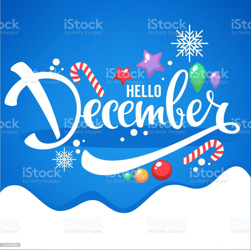 hello December, bright Christmas balls, lollipops and lettering composition flyer or banner template vector art illustration