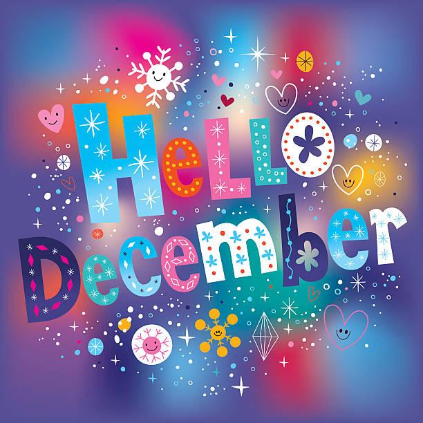 stockillustraties, clipart, cartoons en iconen met hello december decorative type text lettering - december