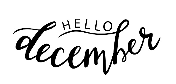 Hello December hand lettering vector, christmas holidays season quotes and phrases for cards, banners, posters, scrapbooking, pillow, cups and clothes design.